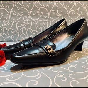 Black Leather Anne Klein Loafers with Kitten Heel